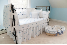 by the sea sailboats crib skirt