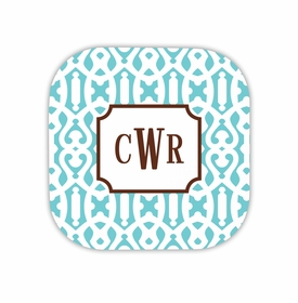 cameron teal hardback rounded coaster<br>(set of 4)