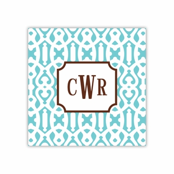 cameron teal square paper coaster<br>set of 50
