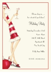 Candy Cane Girl Holiday Party Invite (Set of 10)