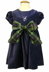 cap sleeve velveteen navy dress with black watch ribbon