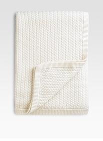 cashmere baby cable throw blanket