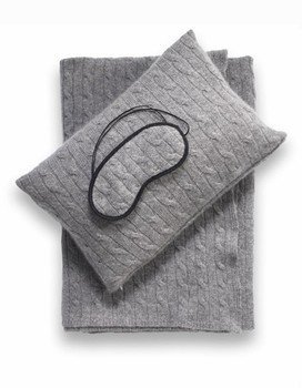 cashmere travel set - blanket, pillow, eye mask