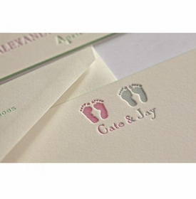 cate & jay footprint baby stationery