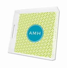 chain link lime lucite tray - square
