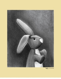 charcoal bunny - yellow border - wall art canvas reproduction by margot curran