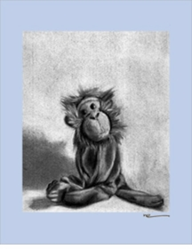 charcoal monkey - blue border - wall art canvas reproduction by margot curran