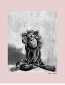 charcoal monkey - pink border - wall art canvas reproduction by margot curran