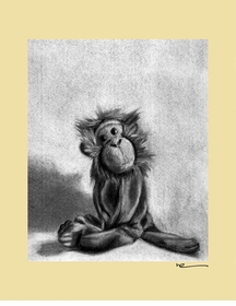 charcoal monkey - yellow border - wall art canvas reproduction by margot curran