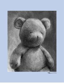 charcoal teddy - blue border - wall art canvas reproduction by margot curran