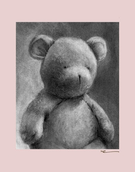 charcoal teddy - pink border - wall art canvas reproduction by margot curran
