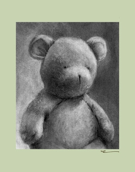 charcoal teddy - sage border - wall art canvas reproduction by margot curran