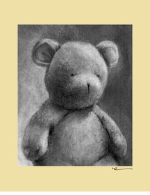 charcoal teddy - yellow border - wall art canvas reproduction by margot curran