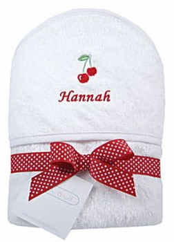 cherries personalized hooded towel
