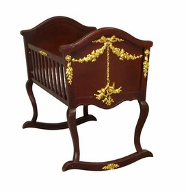 cherubini cradle with gold molding (antique cherry)