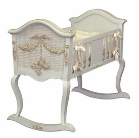 cherubini crib with caning (versailles finish, gold applique)