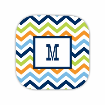 chevron blue, orange & lime hardback rounded coaster<br>(set of 4)