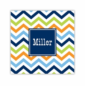 chevron blue, orange & lime square paper coaster<br>set of 50