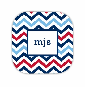 chevron blue & red hardback rounded coaster<br>(set of 4)