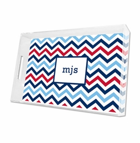 chevron blue & red lucite tray - large