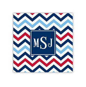 chevron blue & red square paper coaster<br>set of 50