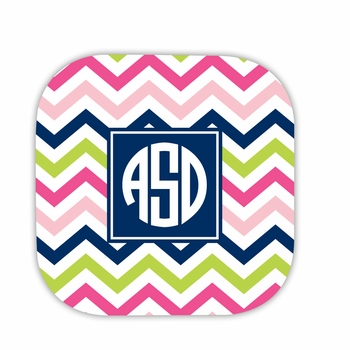 chevron pink, navy & lime hardback rounded coaster<br>(set of 4)