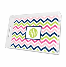 chevron pink, navy & lime lucite tray - large