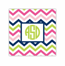 chevron pink, navy & lime square paper coaster<br>set of 50