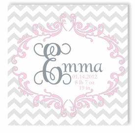 chevron princess canvas birth announcement