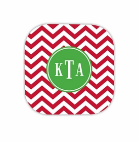 chevron red hardback rounded coaster<br>(set of 4)