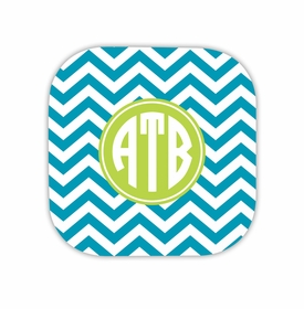 chevron turquoise hardback rounded coaster<br>(set of 4)