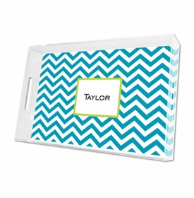 chevron turquoise lucite tray - large