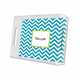 chevron turquoise lucite tray - small