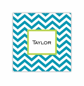 chevron turquoise square paper coaster<br>set of 50