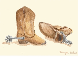 child's cowboy boots wall art canvas by tonya kehoe