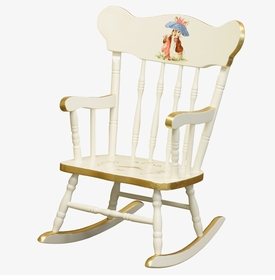 Child's Rocking Chair Antico White And Gold Gilding