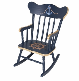 Child's Rocking Chair Navy And Gold Gilding