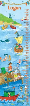 children's growth chart - by the sea (boy)