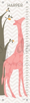 children's growth chart - modern giraffe pink