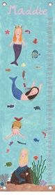 children's personalized growth chart - mermaids