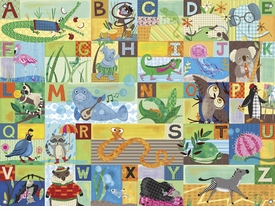 children's wall mural - abc animal action