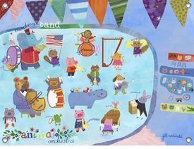 children's wall mural - animal orchestra
