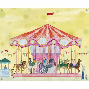 children's wall mural - carousel