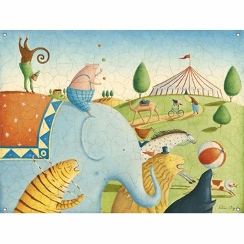 children's wall mural - circus parade