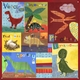 children's wall mural - dino squares