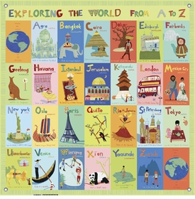 children's wall mural - exploring the world from a-z