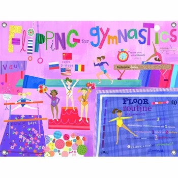 children's wall mural - flipping for gymnastics
