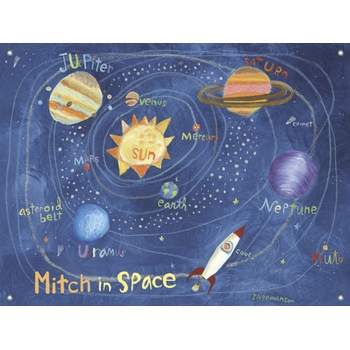 children's wall mural - in space