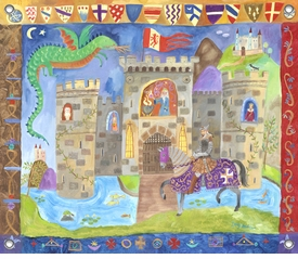 children's wall mural - knight and castle