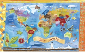 children's wall mural - our world map